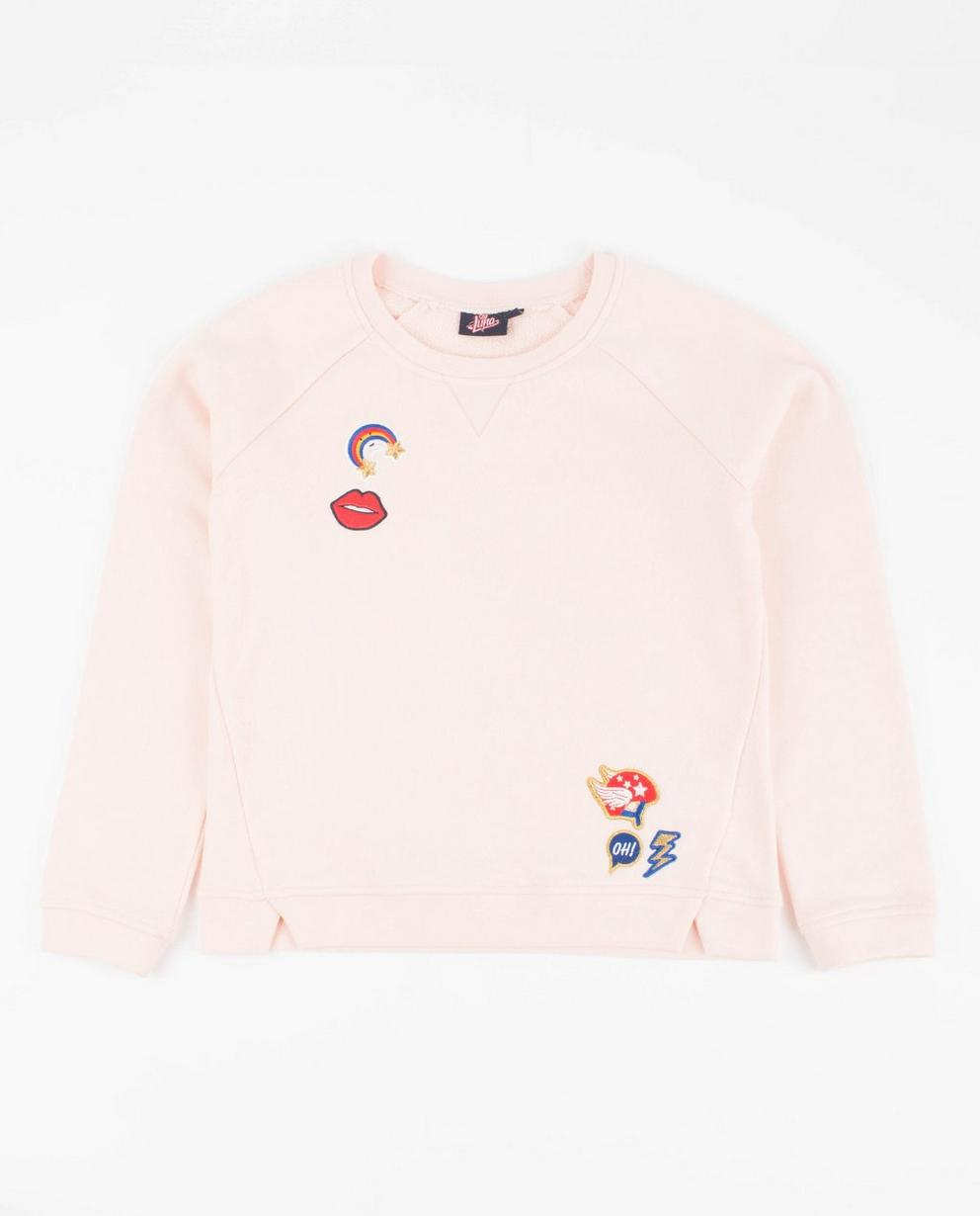 Roze sweater met patches - Soy Luna - Luna